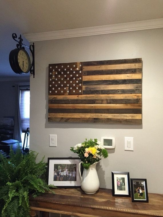 "Reclaimed Pallet American Flag Hanging Wall Art 40"" Wide X 26"" Tall Regarding Rustic American Flag Wall Art (View 25 of 25)"