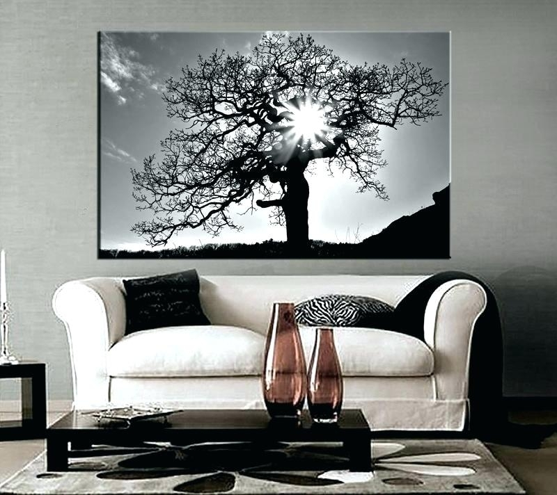 Red And Grey Wall Art 1 Piece Black And White Scenery Huge Canvas Inside Gray Canvas Wall Art (View 3 of 25)