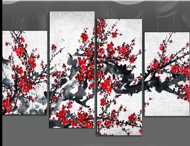 Red Blossom Tree Extra Large Canvas Wall Art On Black Grey White 60 Regarding Black And White Large Canvas Wall Art (Image 20 of 25)