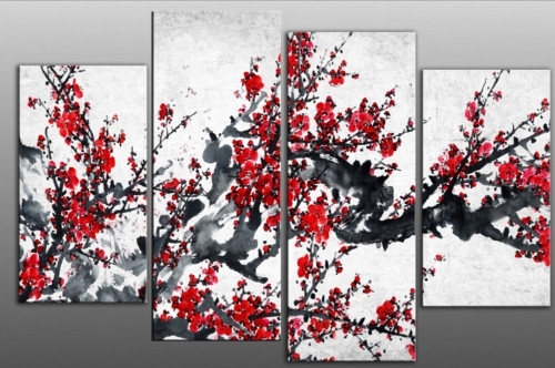 Red Chinese Blossom Tree Split Panel Canvas Wall Art Intended For Chinese Wall Art (View 2 of 25)