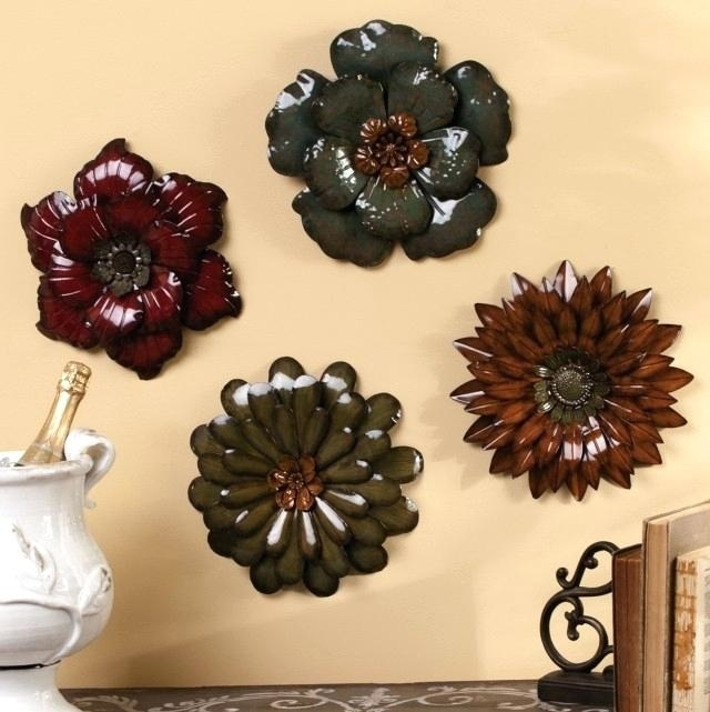 Red Flower Metal Wall Art Large Metal Wall Flowers Cool Wall Art With Regard To Metal Flowers Wall Art (Image 14 of 20)