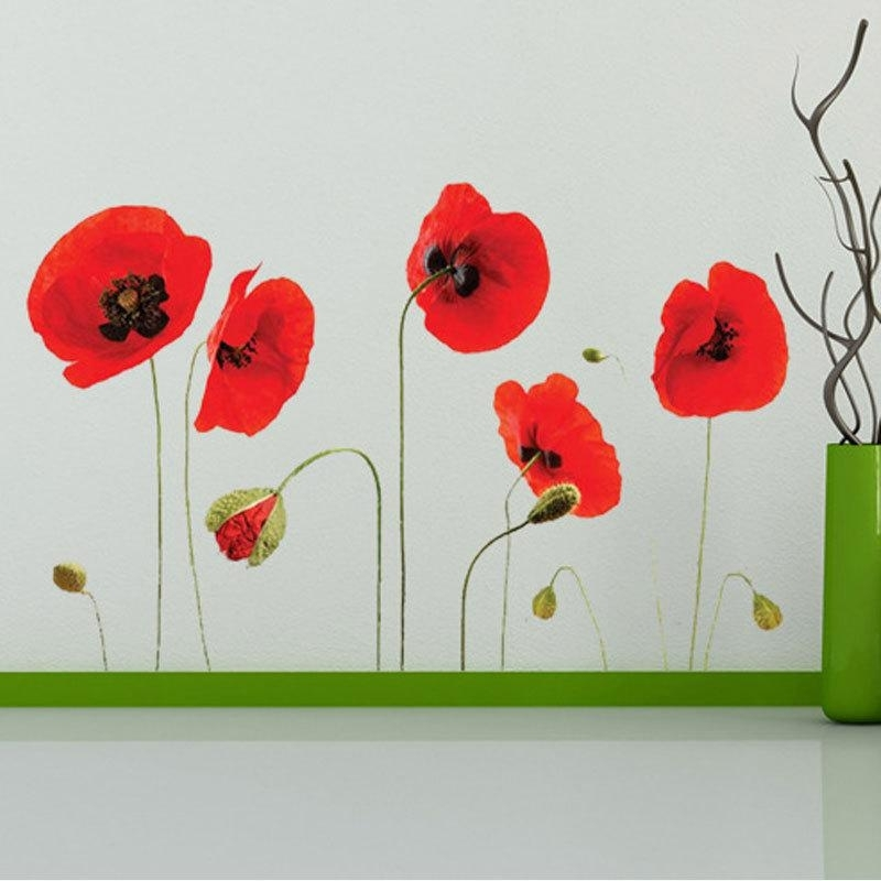 Red Flowers Wall Art Mural Decor Sticker Removable Red Tulip Wall With Regard To Flower Wall Art (Image 17 of 20)