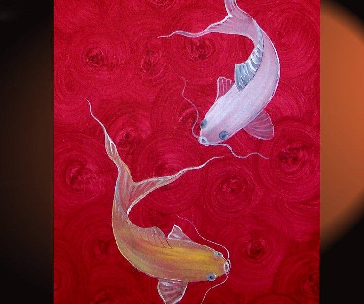 Red Koi Fish Painting Chinese Zen Wall Art Style Original Art Zen Intended For Fish Painting Wall Art (Image 22 of 25)