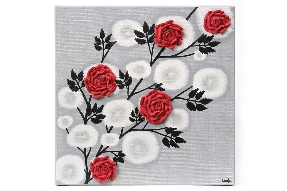 Red Rose Wall Art Painting On Gray And Black Canvas – Small | Amborela Intended For Red Wall Art (View 10 of 10)