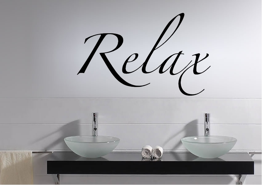 Relax Text Quotes Wall Stickers Adhesive Wall Sticker For Relax Wall Art (Image 10 of 20)