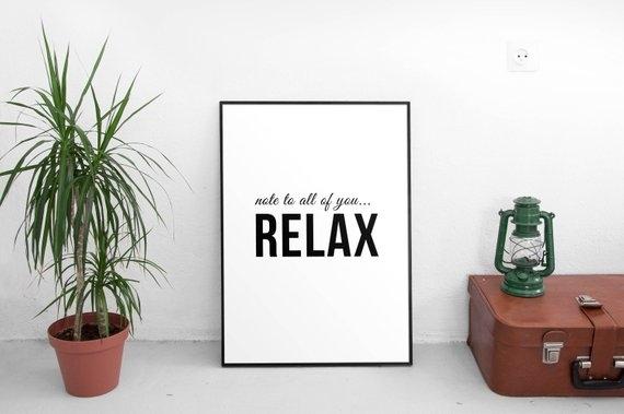 Relax Wall Art Decor Relax Print Minimal Wall Art Minimal | Etsy In Relax Wall Art (Image 12 of 20)