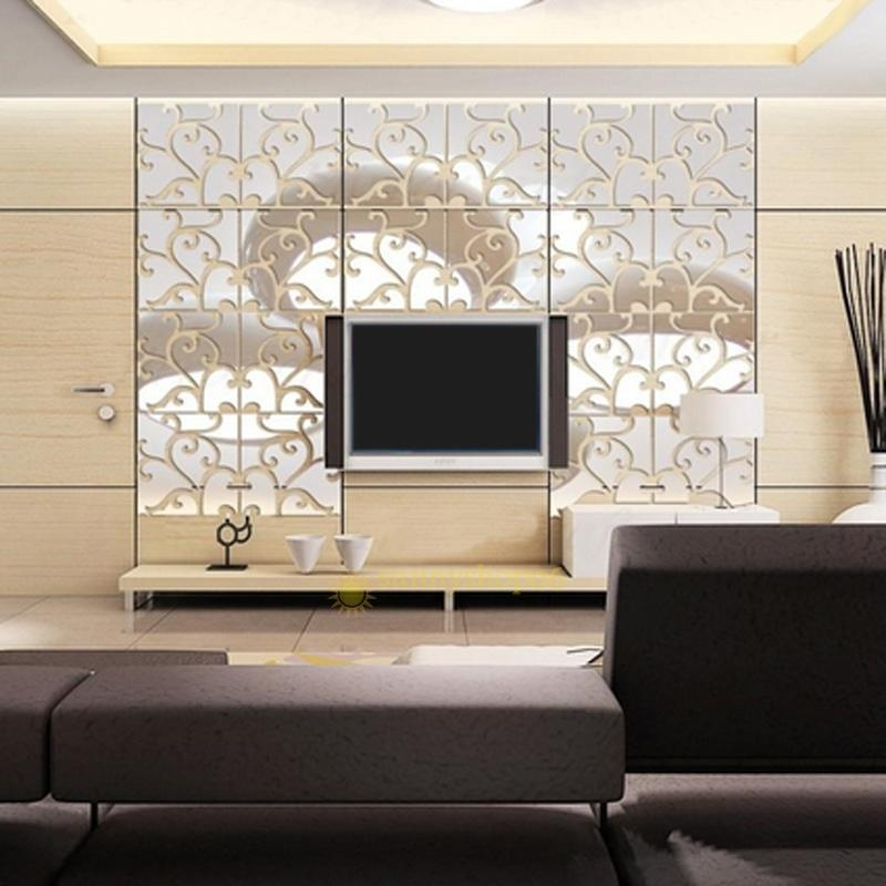 Removable 32Pcs 3D Acrylic Mirror Wall Stickers Decals Decor Vinyl With Acrylic Wall Art (Image 24 of 25)