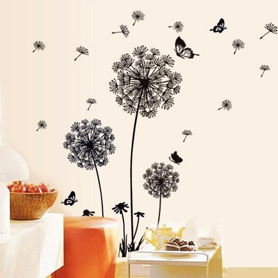 Removable Pvc Dandelion Wall Stickers Living Room,flower Decorative Pertaining To Dandelion Wall Art (Image 19 of 25)
