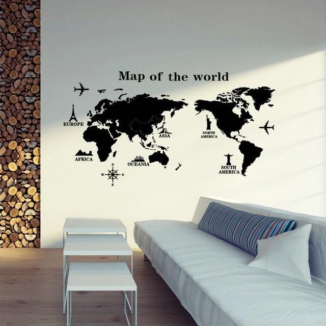 Removable Pvc Vinyl Art Room World Map Decal Mural Home Decor Diy Pertaining To Vinyl Wall Art World Map (Image 16 of 25)