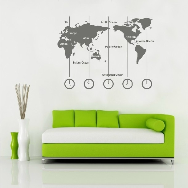 Removable Vinyl World Map Wall Decal Time Wall Art Clock Wall Inside Wall Art Stickers World Map (Image 13 of 25)
