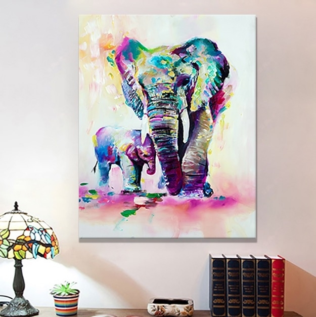 Retro Elephant Canvas Wall Art | Bargainfindsonebay With Regard To Elephant Canvas Wall Art (View 4 of 20)