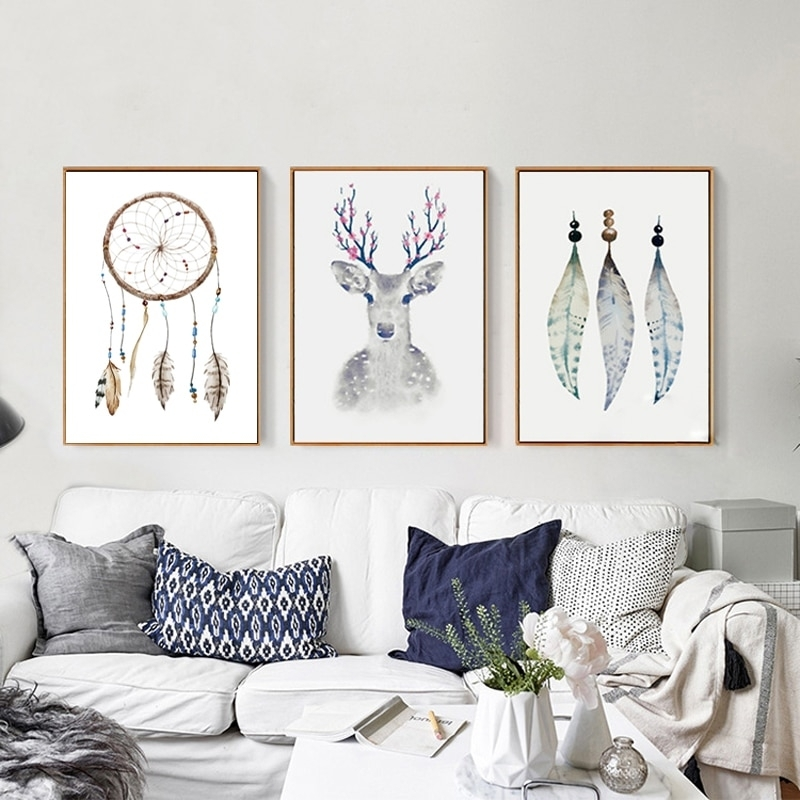 Retro Tribal Canvas Paintings Deer Posters Prints Nordic Pop Wall For Popular Wall Art (Image 20 of 20)