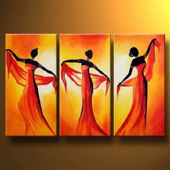 Reviews: Tempting Dance Oil Painting Canvas Wall Art With Stretched In Wall Art Paintings (View 18 of 25)
