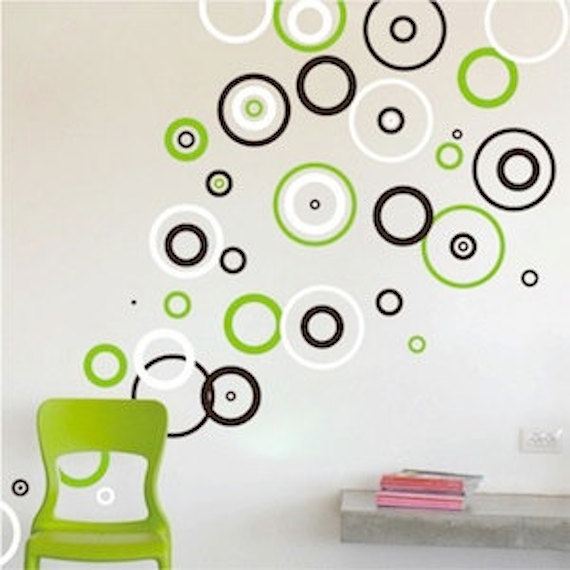 Rings Vinyl Wall Decals Bedroom Shape Designs Circle Wall Intended With Circle Wall Art (Image 18 of 25)