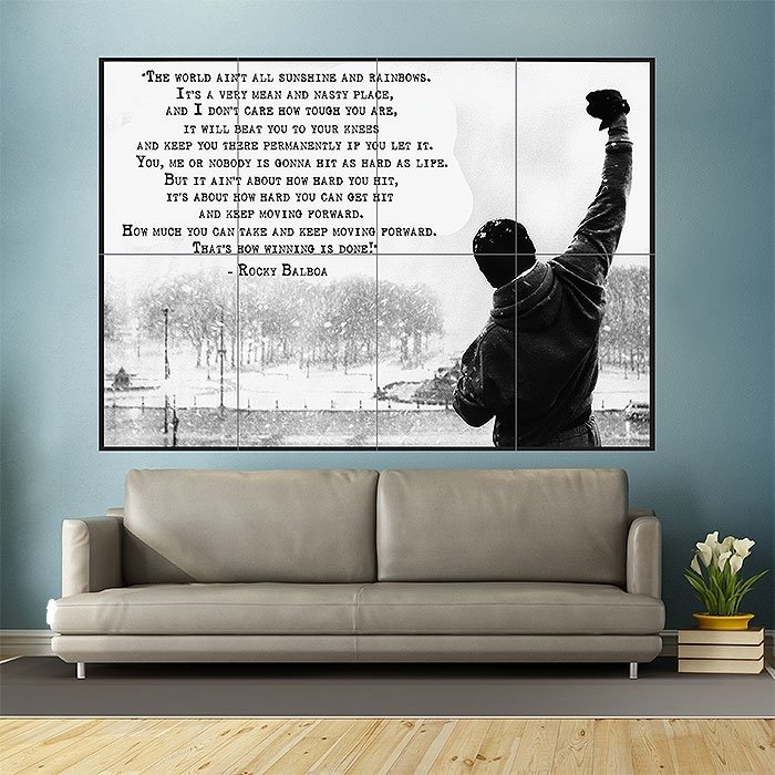 Rocky Balboa Inspirational Motivational Film Movie Quotes Block Pertaining To Giant Wall Art (View 17 of 25)
