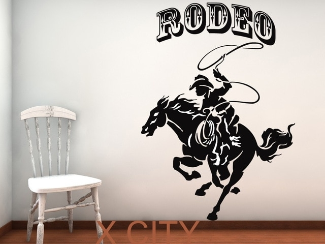 Rodeo Horse And Cowboy Retro American Western Wall Art Sticker Vinyl Intended For Western Wall Art (Image 14 of 25)