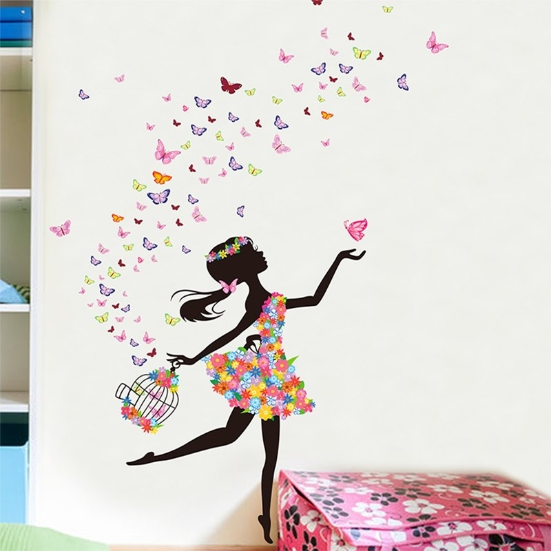 Romantic New Dancing Butterfly Girl Wall Sticker Creative Flowers With Butterfly Wall Art (View 9 of 10)