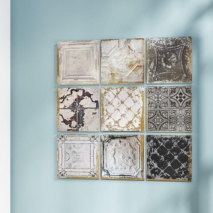 Rosdorf Park 'vintage Tin Tiles' 9 Piece Canvas Wall Art Set Regarding Tile Canvas Wall Art (Image 16 of 25)