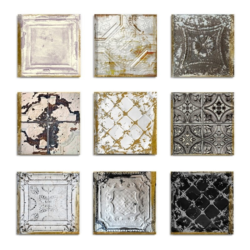 Rosdorf Park 'vintage Tin Tiles' 9 Piece Canvas Wall Art Set Within Tile Canvas Wall Art (View 7 of 25)