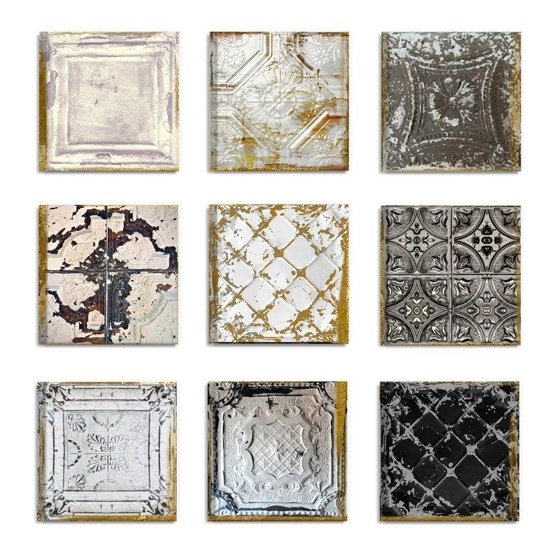 Rosdorf Park 'vintage Tin Tiles' 9 Piece Canvas Wall Art Set Within Tile Canvas Wall Art (Image 18 of 25)