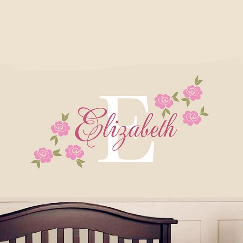 Rose Decal Custom Name Wall Sticker Girl Nursery Children Bedroom For Name Wall Art (View 2 of 25)