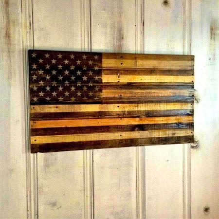 Rustic American Flag Two Tone Wood Wall Art Country Rebel Within Inside Wooden American Flag Wall Art (Image 9 of 25)