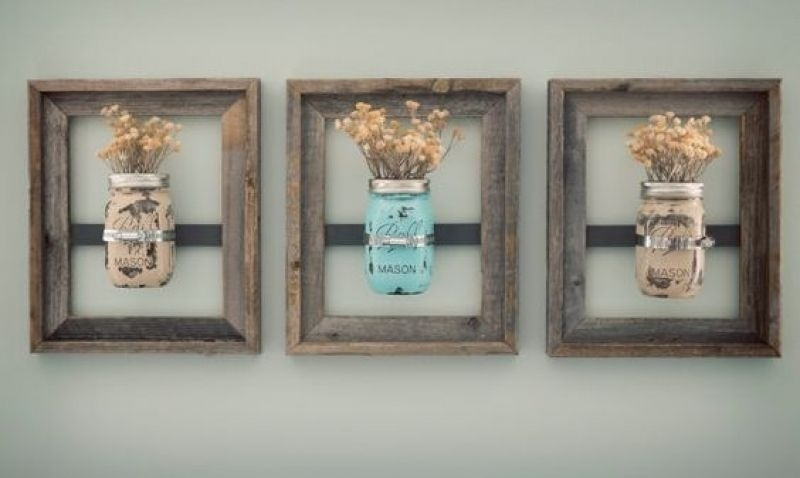 Rustic Bathroom Wall Decor Mason Jar Wall Vase (Painted) With In Mason Jar Wall Art (View 10 of 20)