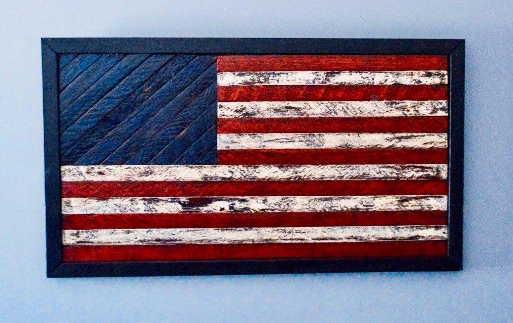 Rustic Framed American Flag Artwork (Image 10 of 25)