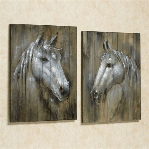 Rustic Horses Wall Art Plaque Set Within Horses Wall Art (Image 16 of 20)