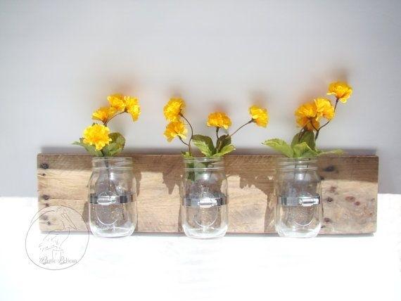 Rustic Mason Jar Wall Decor – Rustic Wall Art Wall Art Wooden Wall For Mason Jar Wall Art (View 20 of 20)