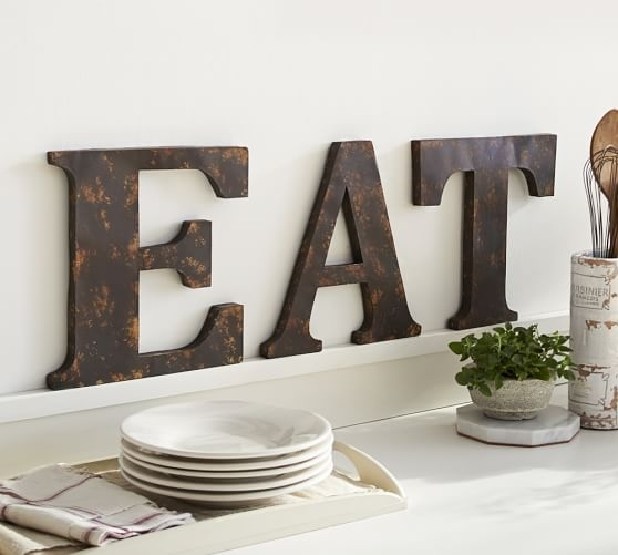 Rustic Metal Letters Pot Cute Metal Letters For Wall Decor – Wall For Metal Letter Wall Art (Image 22 of 25)