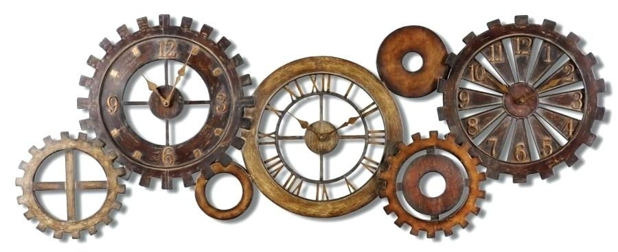 Rustic Metal Wall Art Seven Rustic Gears Metal Clock Wall Art Rustic For Rustic Metal Wall Art (View 24 of 25)