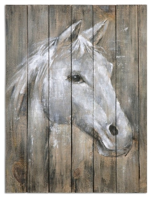 Rustic Reclaimed Wood Horse Wall Art – Farmhouse – Paintings My Regarding Horse Wall Art (View 7 of 10)