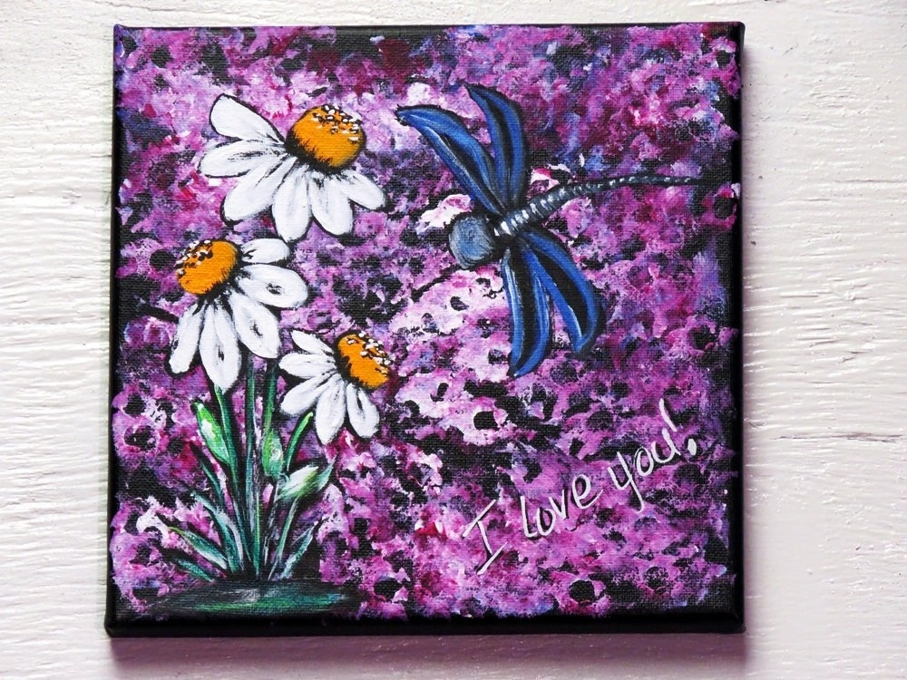 Rustic Wall Art / Hand Painted Dragonfly Painting / White Daisy Regarding Dragonfly Painting Wall Art (View 18 of 25)