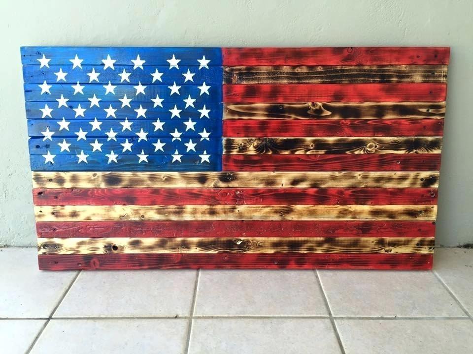 Rustic Wood American Flag Wall Arts Rustic Wood Flag Wall Art Pertaining To Rustic American Flag Wall Art (Image 21 of 25)