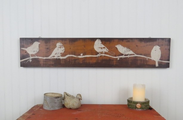 Rustic Wooden Wall Art – Hand Painted Birds On Reclaimed Wood | Aftcra Pertaining To Wooden Wall Art (Image 6 of 10)