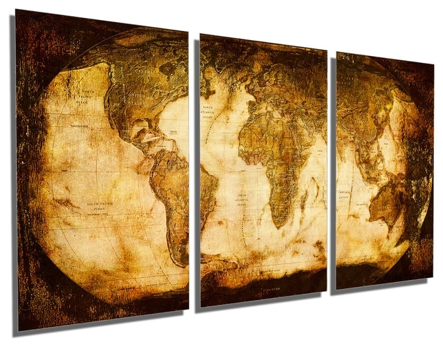 Rustic World Map Metal Print Wall Art 3 Panel Split, Triptych Wall Intended For Triptych Wall Art (Image 10 of 25)