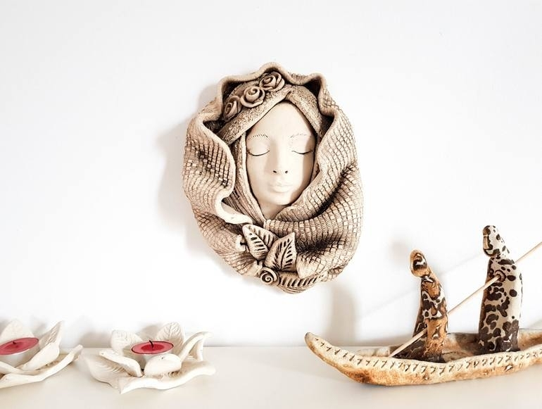 Saatchi Art: Ceramic Wall Decor White Woman Wall Sculpture 3D Wall Throughout Ceramic Wall Art (Image 18 of 25)