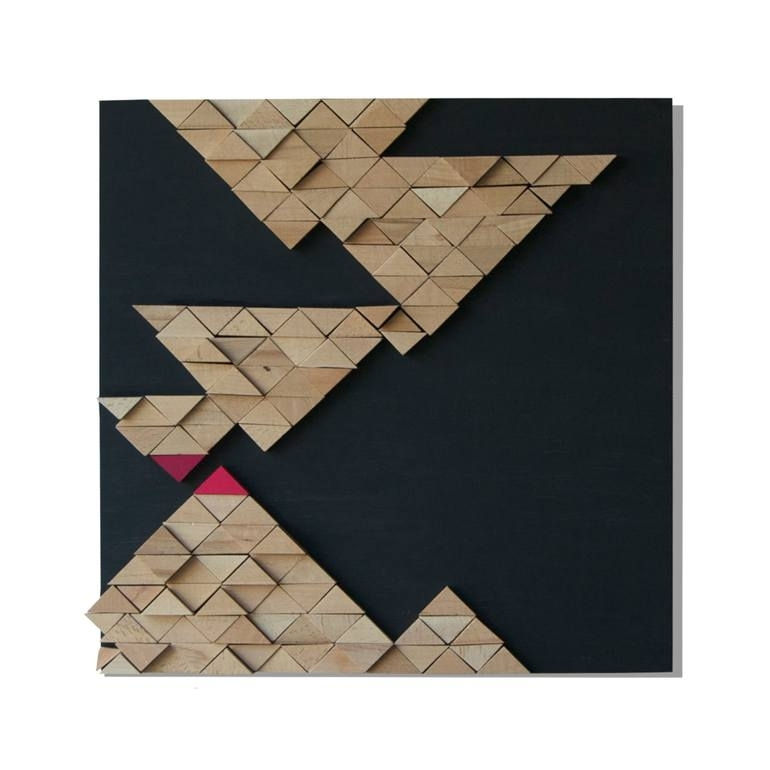 Saatchi Art: Tectonic Original 3D Mosaic Wooden Wall Art Sculpture For Wooden Wall Art (View 3 of 10)