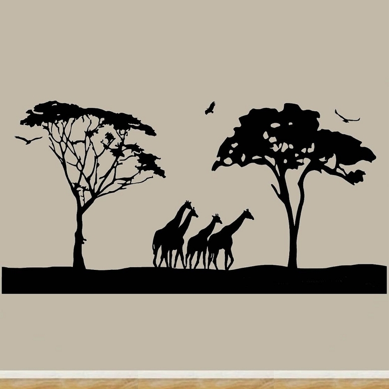Safari Wall Art Decals Large Animal Wall Decor Giraffes Stickers With Regard To Stick On Wall Art (View 9 of 20)
