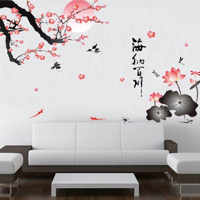 Sakura Flower Birds Wall Stickers Home Decor Living Room Diy Within Home Decor Wall Art (View 2 of 20)