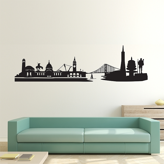 San Francisco City Skyline Vinyl Wall Art Decal Inside San Francisco Wall Art (Image 20 of 25)