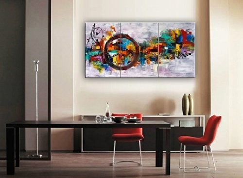 Santin Art Circle Of Magic Modern Canvas Art Wall Decor Abstract Oil Pertaining To Canvas Wall Art (View 9 of 10)