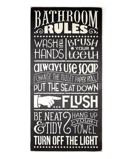 Saras Signs Bathroom Rules Wall Art | Zulily With Regard To Bathroom Rules Wall Art (View 1 of 25)