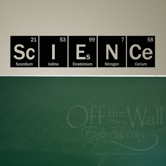 Science Wall Decal Periodic Table Elements Vinyl Wall Art | Etsy Throughout Periodic Table Wall Art (View 19 of 20)