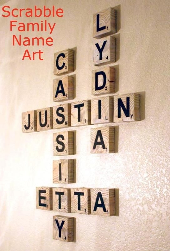 Scrabble Family Name Art Remodelaholic #art #family #tutorial Throughout Family Name Wall Art (View 19 of 20)