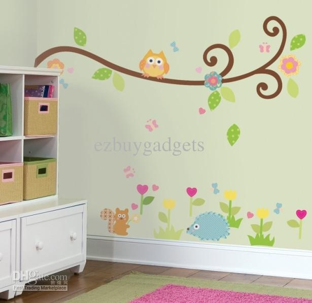 Scroll Branch Peel And Stick Wall Art Decals Owl Leaves Flowers Kids Inside Stick On Wall Art (Image 12 of 20)