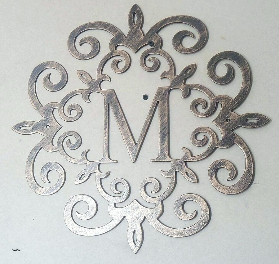 Scroll Wall Art Metal Scroll Wall Art Family Initial Monogram Inside For Letter Wall Art (Image 18 of 25)