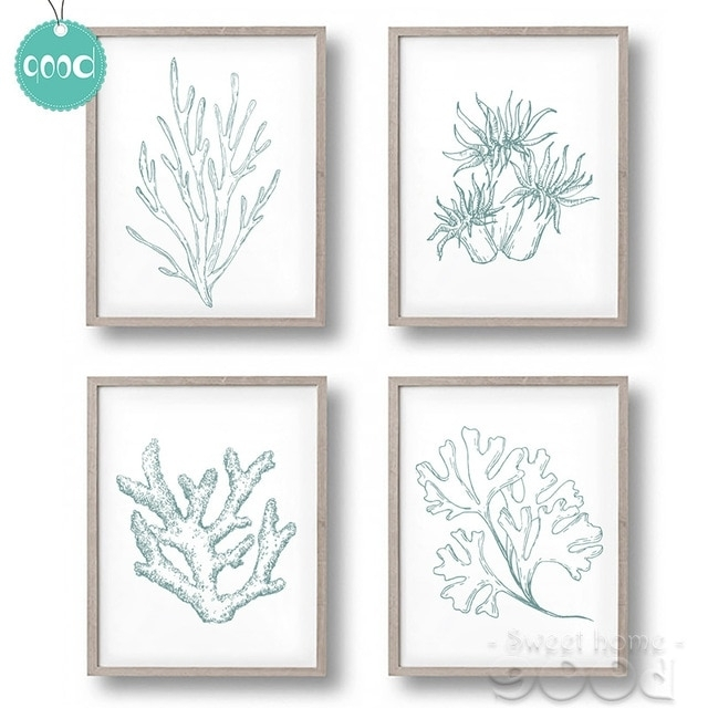Sea Life Plant Canvas Art Print Painting Poster, Coral Wall Pictures Throughout Sea Life Wall Art (View 9 of 10)