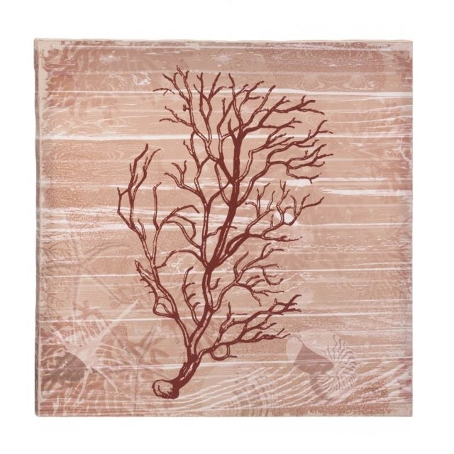 Sea Swept Coral Canvas Wall Art Red Under The Sea Style Wooden Frame Throughout Coral Wall Art (Image 21 of 25)